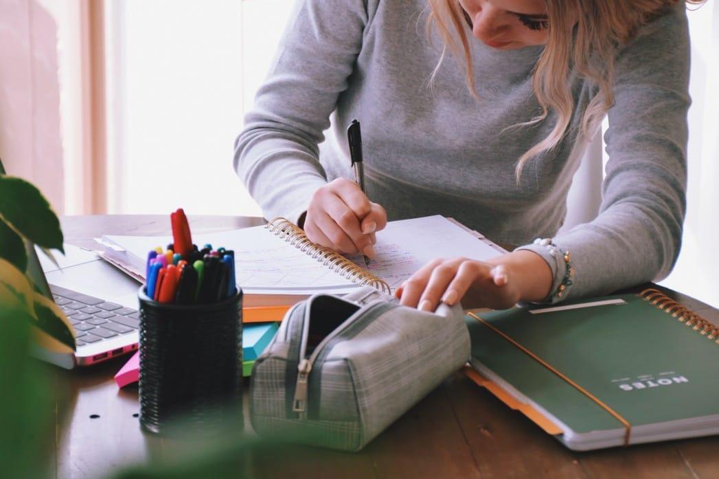 Student making homework