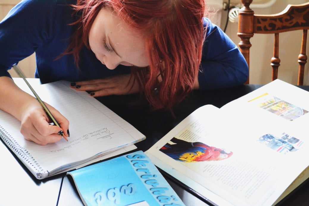 Student with system of multiple notebooks