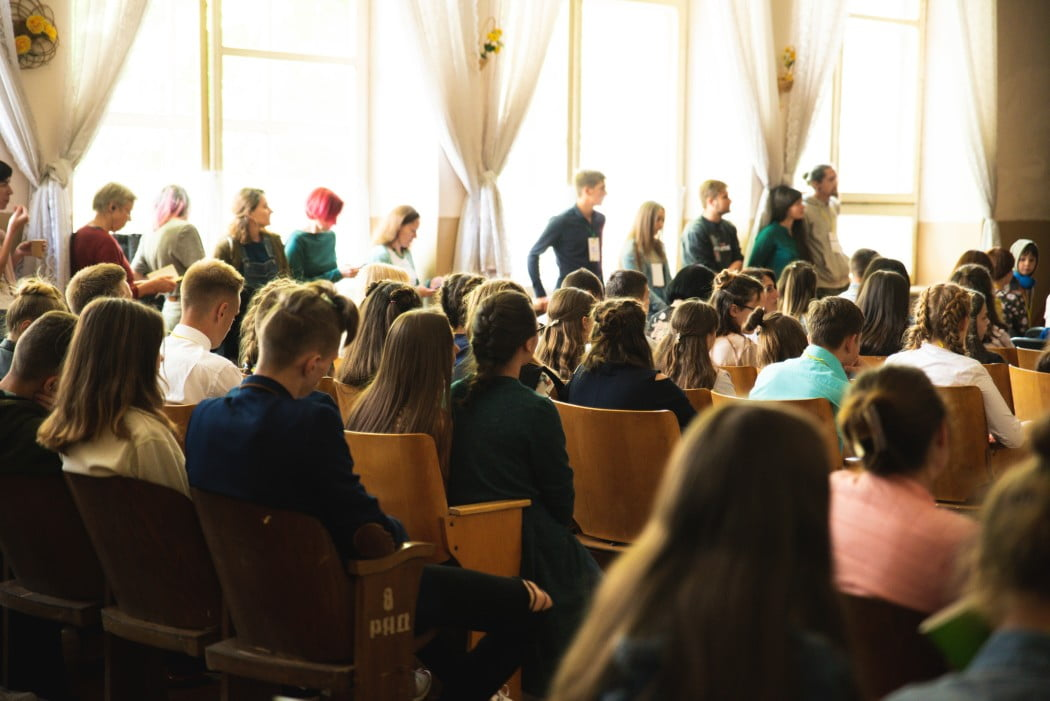 Audience watching presentation